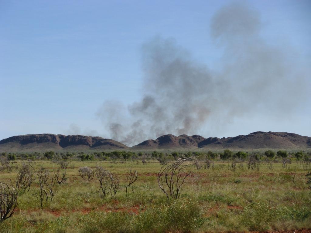 Onderweg naar Port Hedland zien we uitgestrekte vlaktes en bushfires.