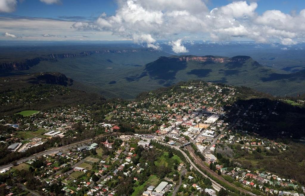 Luchtfoto van Katoomba (foto: http://www.cittaslow.org.au/)