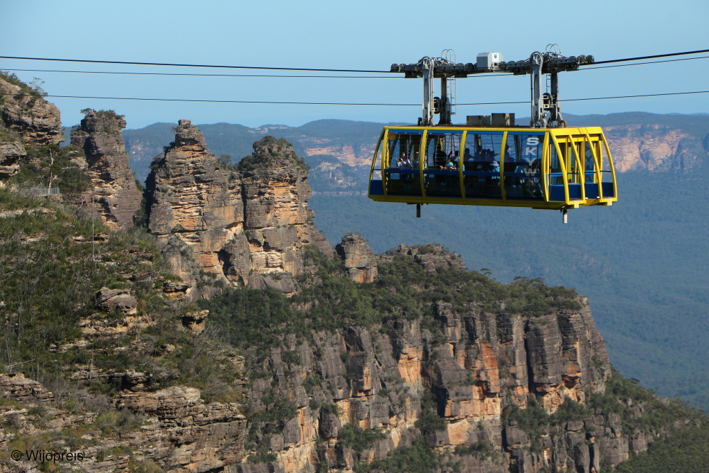 De Scenic Skyway en de rotsformatie 'The Three Sisters'