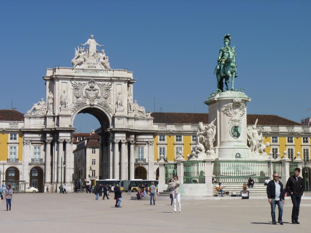 Het beroemde plein van Lissabon Praça do Comércio.
